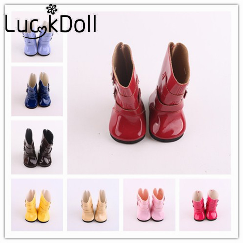 LUCKDOLL 7pairs Solid Color Rain BootsFit 18 Inch American 43cm Baby Doll Clothes Accessories GirlsToys Generation Birthday Gift