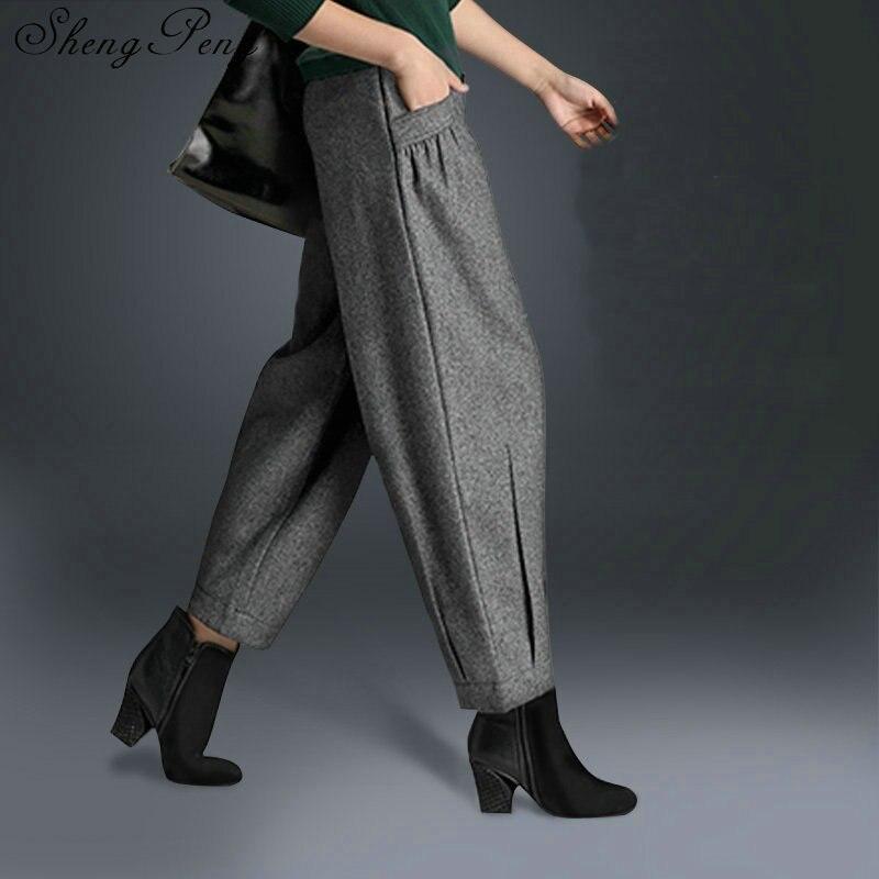Модные женские 2018 мешковатые Штаны женские элегантные деловые Штаны брюки на осень-зиму штаны-шаровары женщин CC075