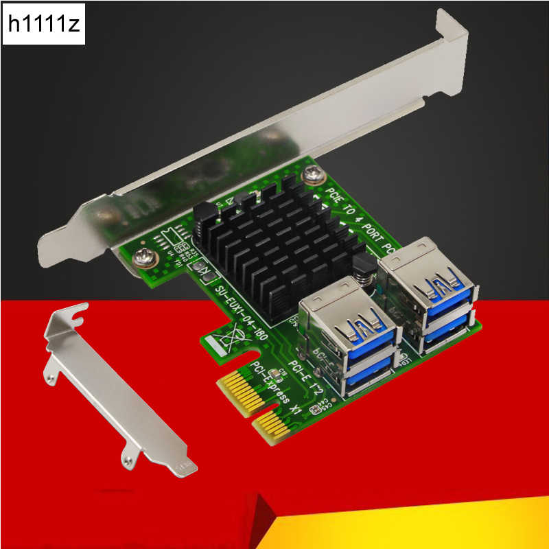 New PCI-E Riser 4 Ports USB 3.0 PCI Express Riser Card PCI-E 1x 16x Extender Converter Adapter with LED for Bitcoin Miner Mining