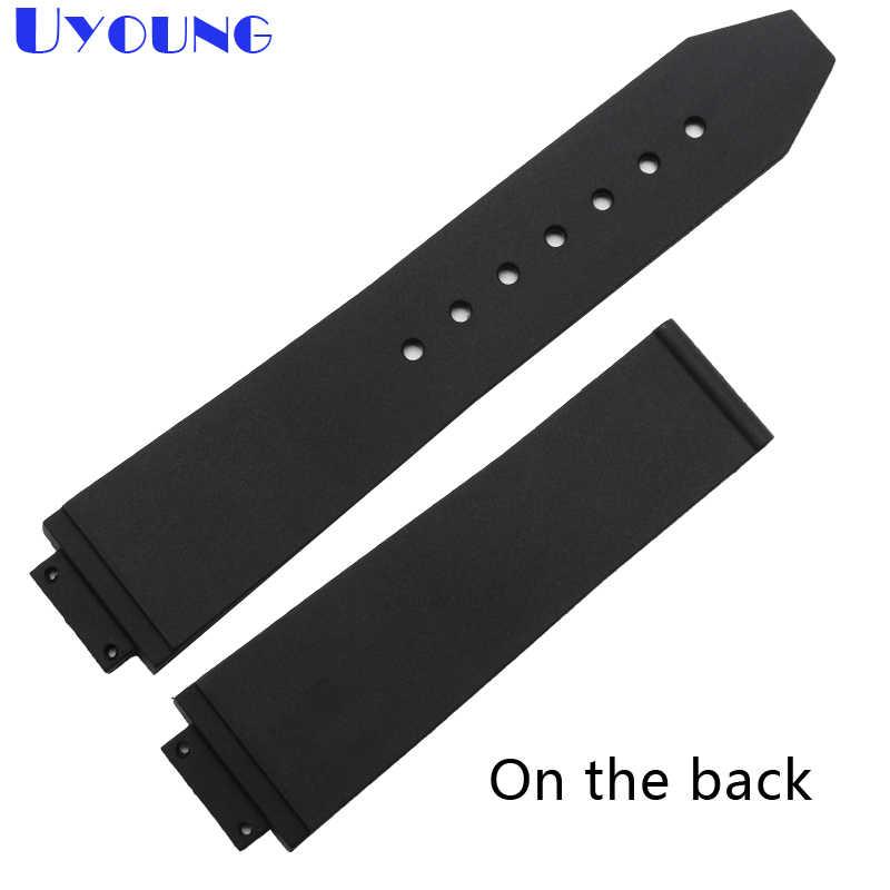 סיליקון צמיד 21*18mm גומי רצועת השעון שחור קטן פס שעון רצועת נשים שעוני יד בנד שחור