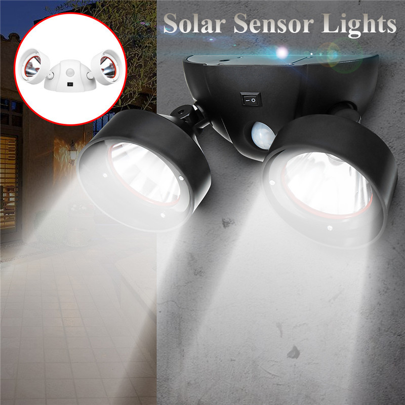 Mising Motion Sensor Light LED Solar Powered Lamp Rotatable Double Dural Heads Security Wall Lamp For Outdoor Garden