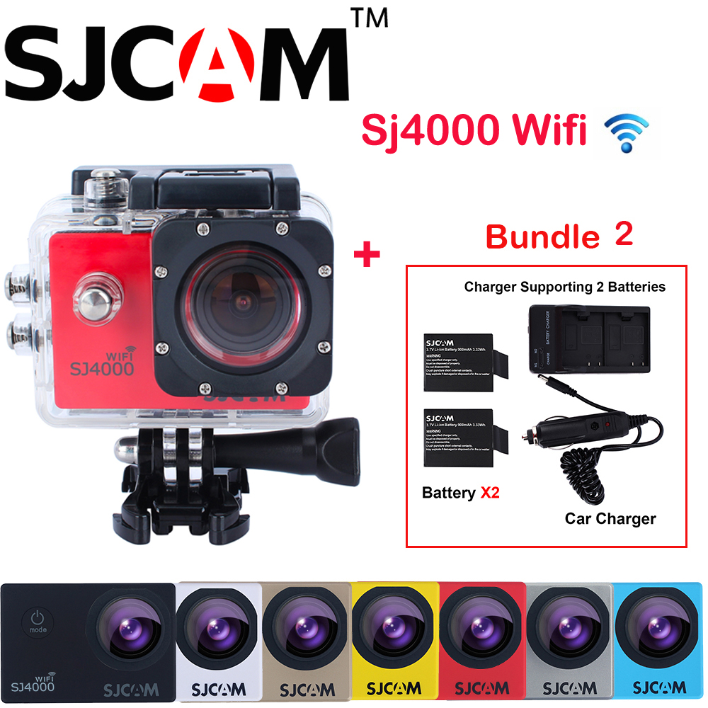Original SJCAM SJ4000 WiFi 1.5 NTK96655 30M Waterproof Sports Action Camera Sj 4000 Wifi Cam DV+2 Battery+Dual Wall+Car Charger original sjcam m20 wifi 4k 24fps 30m waterproof sports action camera sj cam dvr 2 extra battery dual charger remote monopod