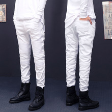 New arrival mens Stretch cotton hip hop white black skinny biker jeans Pleated on the knee 5 colors Plus size28-38 m230