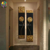 hand made canvas oil painting gold flower on black canvas daisy Dandelion wall pictures for Corridor aisle decorative art sets