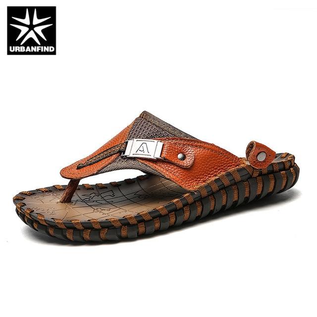 d5ea212bcf84a URBANFIND New Men Leather Slippers Summer Sandals Shoes Plus Size 38-48  Sewing Design Male Casual Flip Flops Black Brown Colors