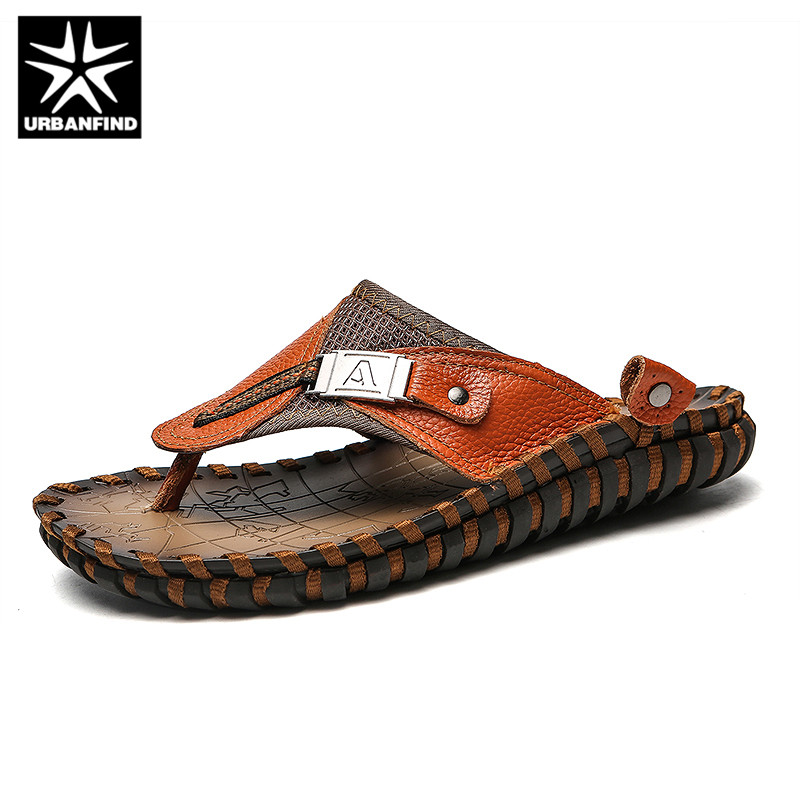 URBANFIND New Men Leather Slippers Summer Sandals Shoes Plus Size 38-48 Sewing Design Male Casual Flip Flops Black Brown Colors