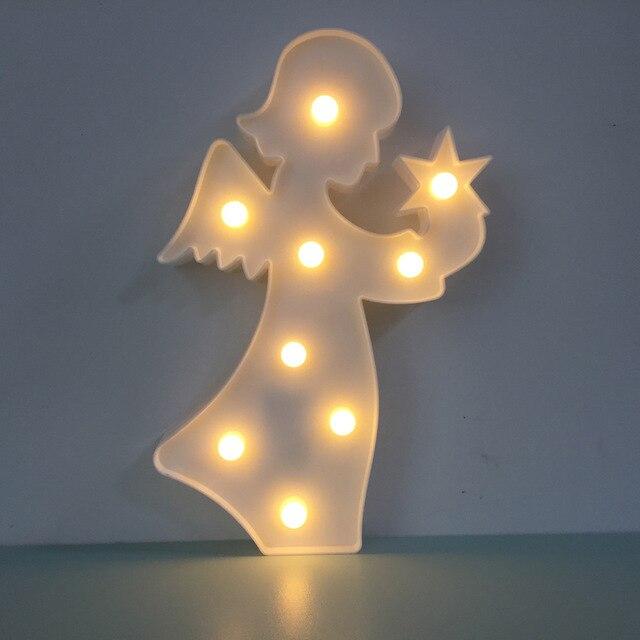 Kleine LED Engel 3D Nachtlicht Kreative Wandleuchte Kinderzimmer Schlafzimmer  Lampe AA * 2 Batterie Party Wohnkultur