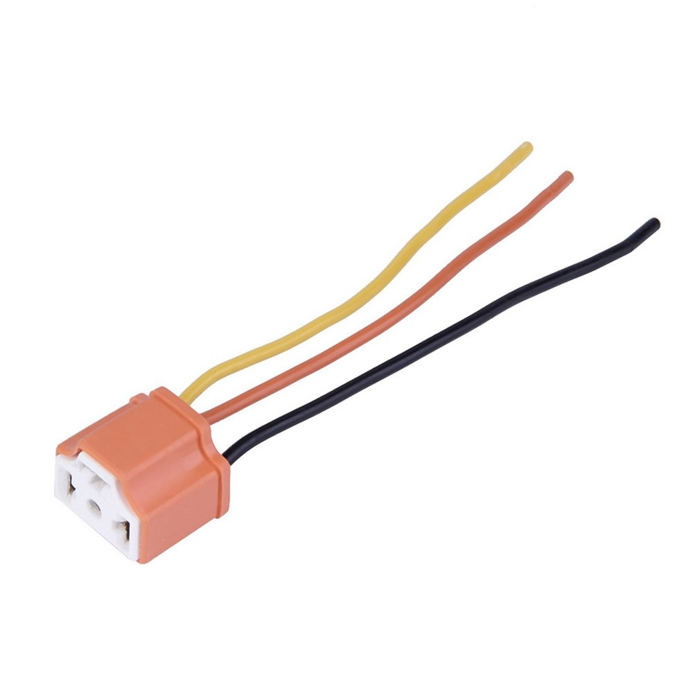 H4 Car Truck Female Ceramic Headlight Extension Connector Plug Light Lamp Bulb Wire Socket Adapter 12V Orange wire