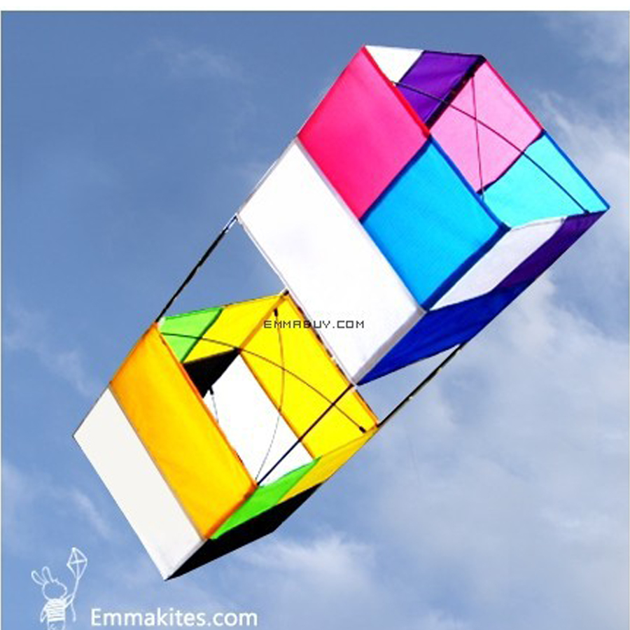 85cm Traditional 3D Box Kite Outdoor Sports Single Line Beach Kite For Beginners Playing