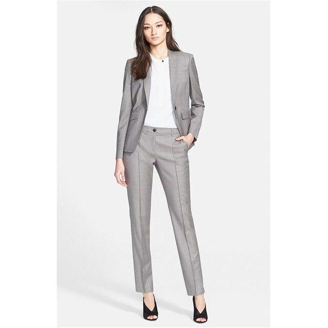 aec42b03d19 Nuevas Mujeres De Color Gris Claro 2 Unidades Conjuntos Pantalones de Mujer  De Negocios traje Formal Señoras de La Manga Larga Traje Pantalón Trajes De  ...