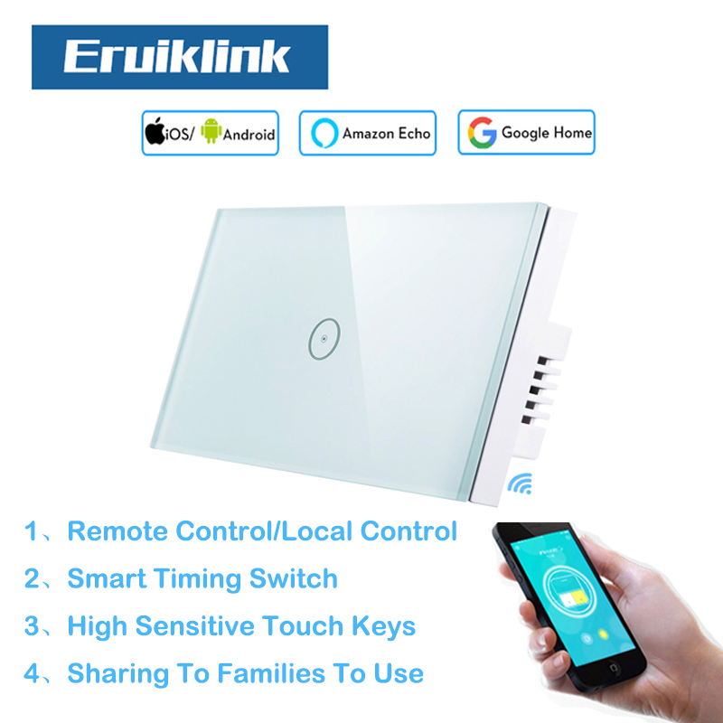 Eruiklink US Standard 1Gang Wifi Light Switch for Smart Home Glass Panel Touch Switch110V-240V works with Alexa for Smart HomeEruiklink US Standard 1Gang Wifi Light Switch for Smart Home Glass Panel Touch Switch110V-240V works with Alexa for Smart Home