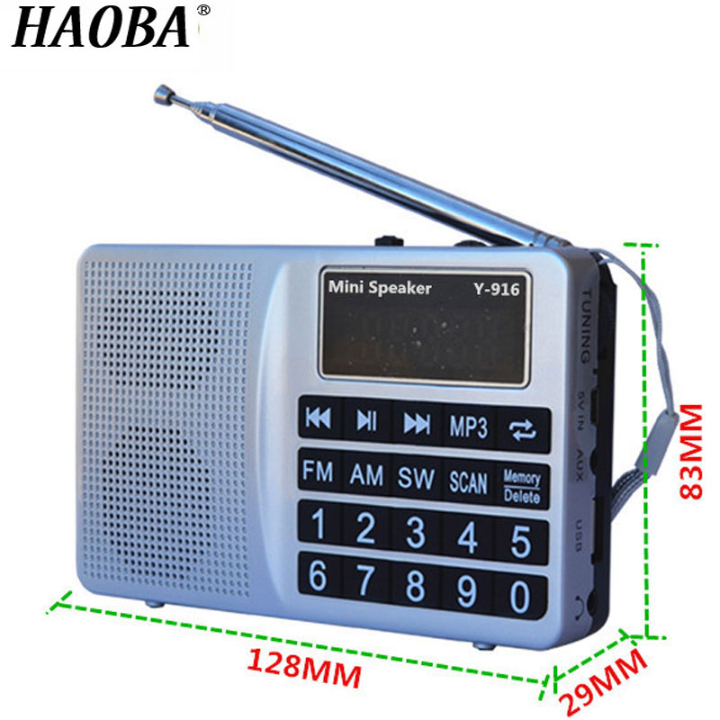 HAOBA Portable Mini Radio FM / AM / SW Band MP3 Player Support USB TF Card Digital Display FM Speaker Radio