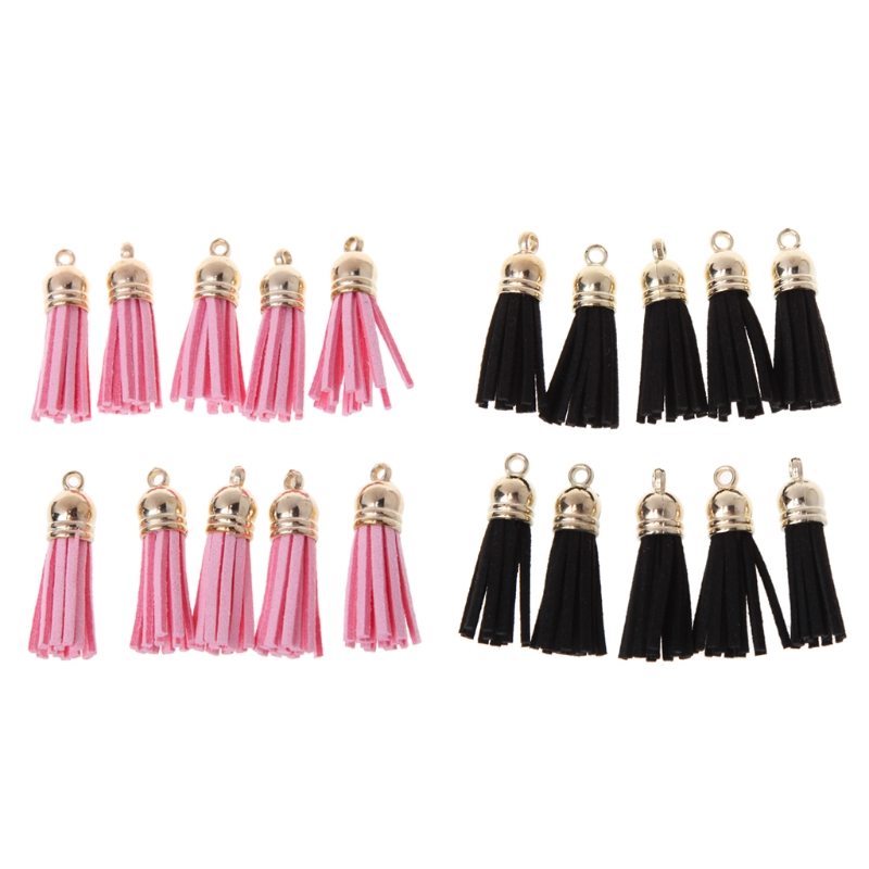 10Pcs Tassel Pendant With Caps Charms Bag Key Chain Straps DIY Decor Accessories