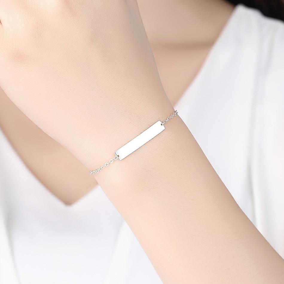 Us 8 37 50 Off Custom Personalized 925 Sterling Silver Bracelet Name Engraved Bar Charm Bracelets Women Men Customized Letter Jewelry Gift In
