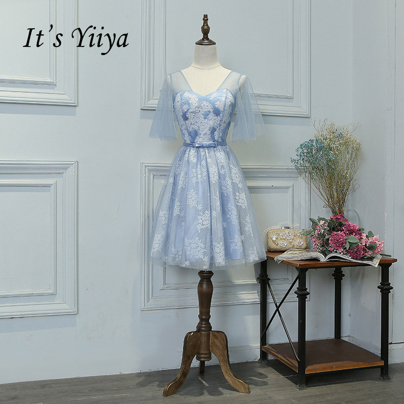 It's YiiYa Blue Bow Lace Shawl Floral Print Flowers V-neck Lace Up   Cocktail     Dresses   Knee Length Formal   Dress   Party Gowns MYF088