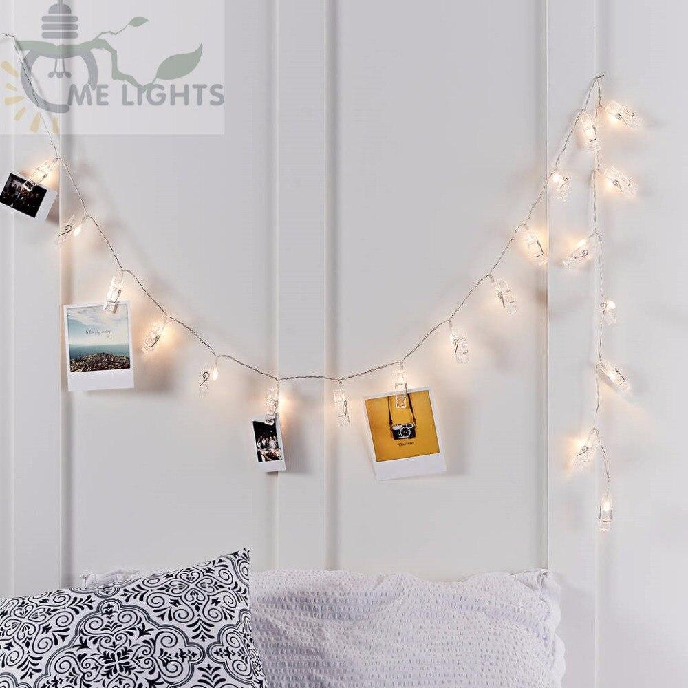 Батарея питание фото клип строки gerlyanda декоративные светодиодные Рождество огни для партии праздничные украшения гирлянды