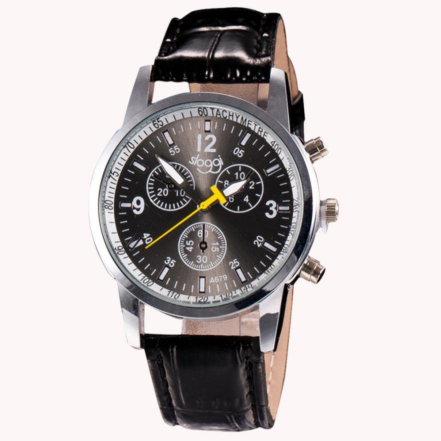 Luxury Fashion Faux Leather Mens Analog font b Watch b font Wrist font b Watches b