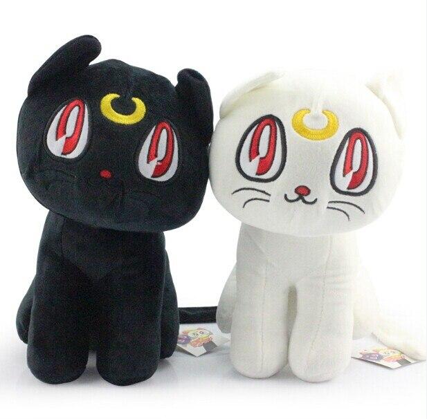 Новый Сейлор Мун 12 30 см Черный Luna Кот и белый Артемис Кот плюшевые игрушки куклы с тегом Бесплатная доставка
