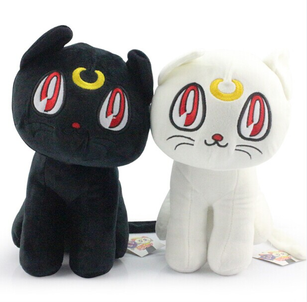 New Sailor Moon 1230CM Black Luna Cat and White Artemis Cat Plush Doll Toy With Tag Free Shipping