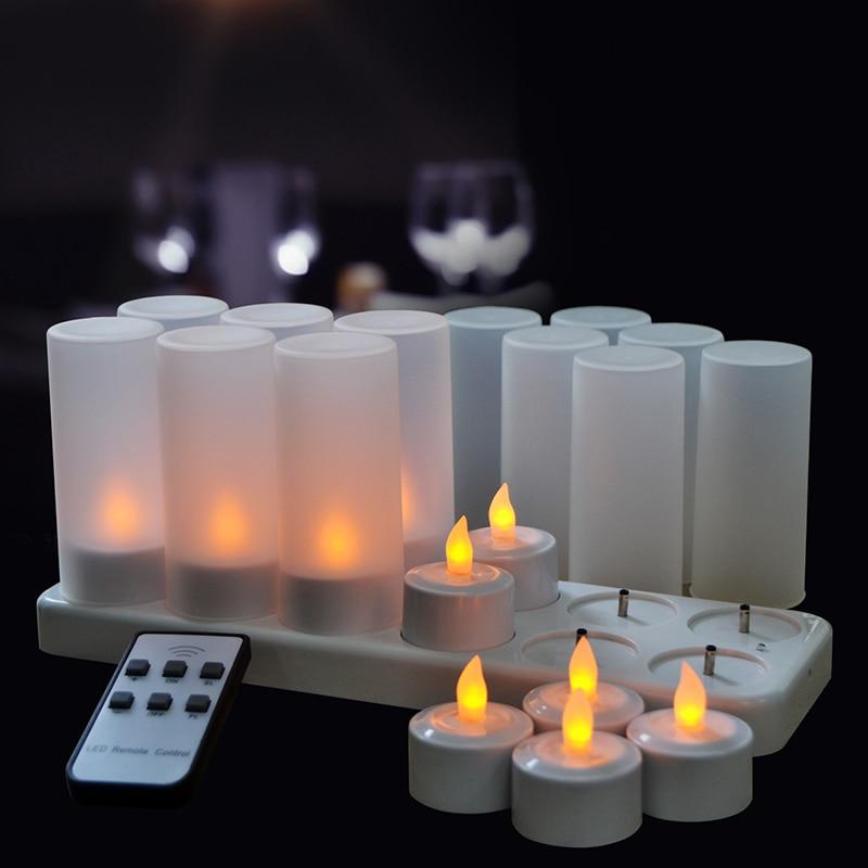 Flameless Tealight Rechargeable Tea Light Candle 12pcs