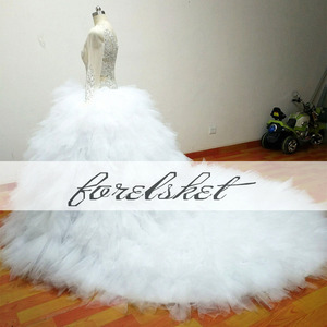 Image 5 - Illusion White Bridal Gowns Ball Gown 2020 Luxury Crystal beading Tulle Wedding Dresses Long Sleeves One Shoulder Royal Train
