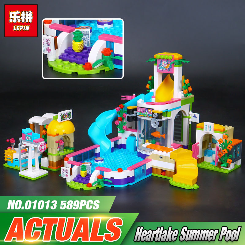 Lepin 01013 Genuine 589Pcs Girls Series The Heartlake Summer Pool Set 41313 Building Blocks Bricks Funny Toys For Kids As Gifts