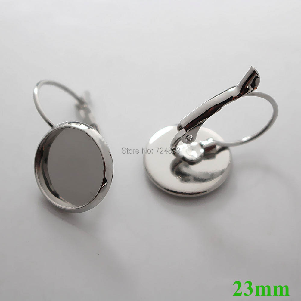 23mm Silver Plated Blank Ear Clip Base Round Bezel cups Brass ...