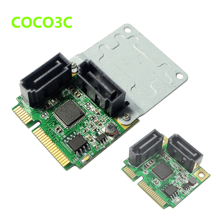 Mini PCIe to Dual SATA 3.0 adapter + RAID0  RAID1 SPAN Half-size Full-size mini PCI-e card to 2 port SATA III 6Gbps converter 2 5 dual mini pcie pci e pci express pci express msata raid ssd adapter to sata raid 22pin