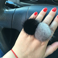 Fashion Mink Fur Ball Ring Fur Jewelry Pompom Ring Fur Pom Poms Silver Ring for women Adjustable Size
