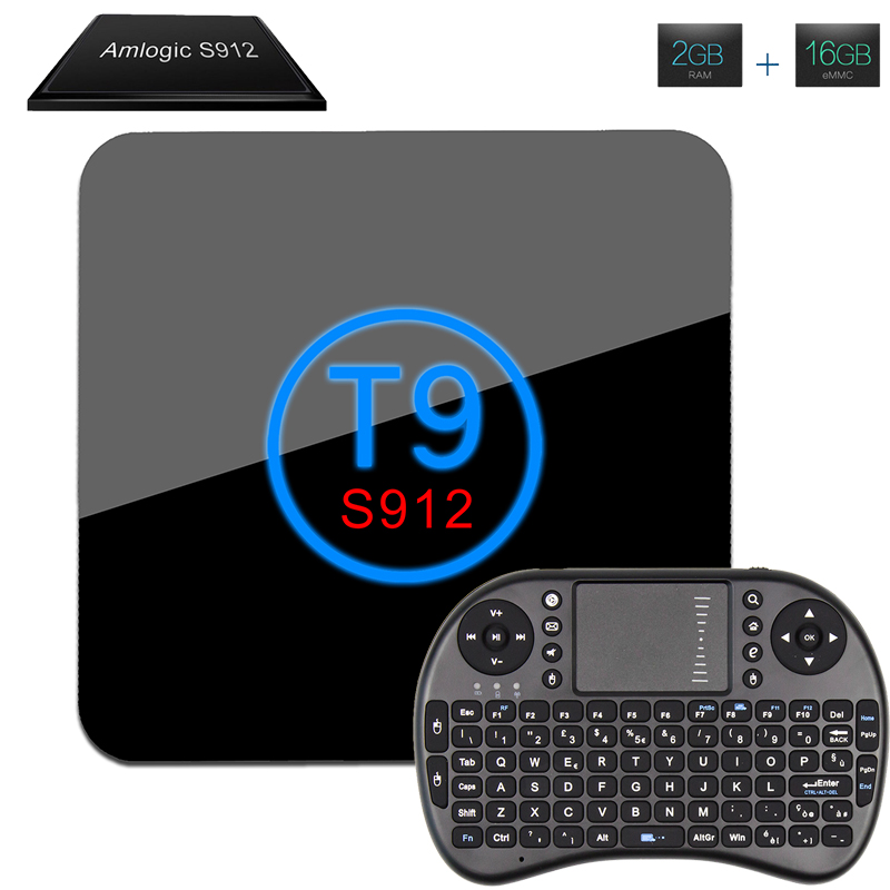Android TV Box T9 Amlogic S912 Octa Core Android 6.0 2GB 16GB Android Media Player 2.4G/5.8GHZ WiFi BT4.0 4K 2K With I8 Keyboard android 6 0 tv box amlogic s912 octa core set top box 2gb ram 16gb rom 4k streaming media player 2 4g 5 8g ac wifi bluetooth 4 0