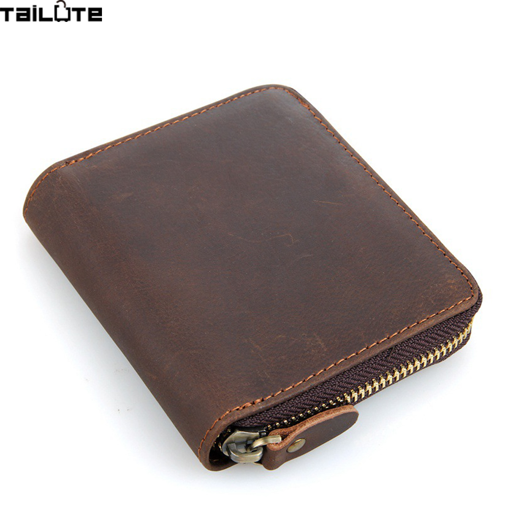 TAILUTE Genuine Crazy Horse Cowhide Leather Men Wallet Short Coin Purse Small Vintage Wallet Brand High Quality Vintage Designer 2017 genuine cowhide leather brand women wallet short design lady small coin purse mini clutch cartera high quality