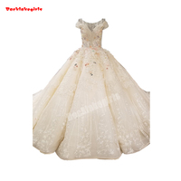 0065 Traditional Style Brand Design Moroccan Wedding Dress Sleeveless Beautiful Appliqued Fluffy Party Gown