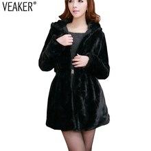 Осеннее женское длинное пальто с капюшоном из искусственного меха, зимняя Двусторонняя приталенная куртка, шубы из искусственного лисьего меха, черная верхняя одежда
