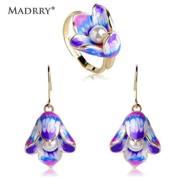 Madrry Fashion Enamel Jewelry Sets Earrings&Ring Gold color Pearl Flower Brincos Anillo Brand Wedding Party Schmuck Sets