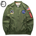 New Men US NASA Pacth Bomber Jacket Thin Style Luxury Windproof Air Force Embroidery Men Pilot Jacket Military Tactical Jacket