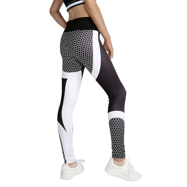 abb81e6360 Women Leggings Sport Fitness Mesh Pattern Print High Waist Yoga Pants Push  Up Gym Shark Seamless Jogging Training Pants