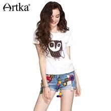Artka 2017 Casual Owl Embroidery Summer Women T-shirt Short Sleeve Women Clothing T-shirt TA10774X