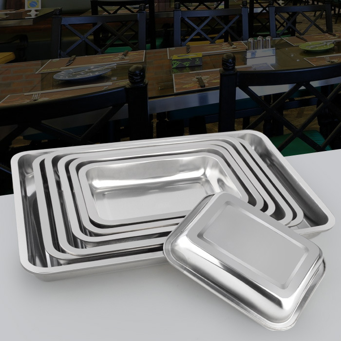 прямоугольный металлический лоток