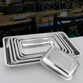 Stainless steel tray rectangular hotel tableware fish plate barbecue plate tray