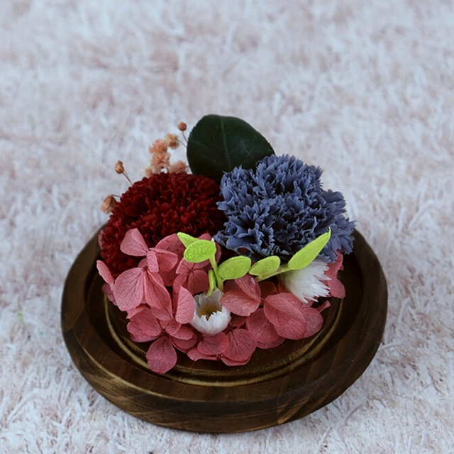 Exquisite Birthday Gift Christmas Send Mom Preserved Fresh Carnation Glass Flower Micro Landscape