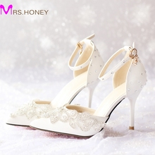 Pointed Toe New 2016 Women High Heels Prom Wedding Shoes Lady Crystal Platforms Rachel White Bridal Shoes with Buckle Strap