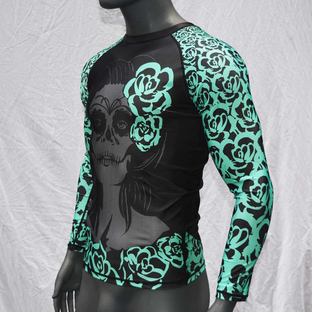 Bjj lycra para sublimación impresa Muaythai de la DCI Camiseta jitsu Gi manga larga Wushu Camiseta Mma Muay que Sanda de formación