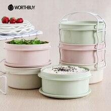 WORTHBUY 3 Schichten Kunststoff Mikrowelle Mittagessen Boxs Für Lebensmittelbehälter Japanischen Umweltfreundliche Bento Box Für Kinder Portable Picknick