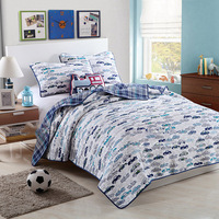 Kids Cotton Quilt 2PCS Set Washed Cotton Quilts Bed Sheet Car Printed Bed Cover Pillowcase Children