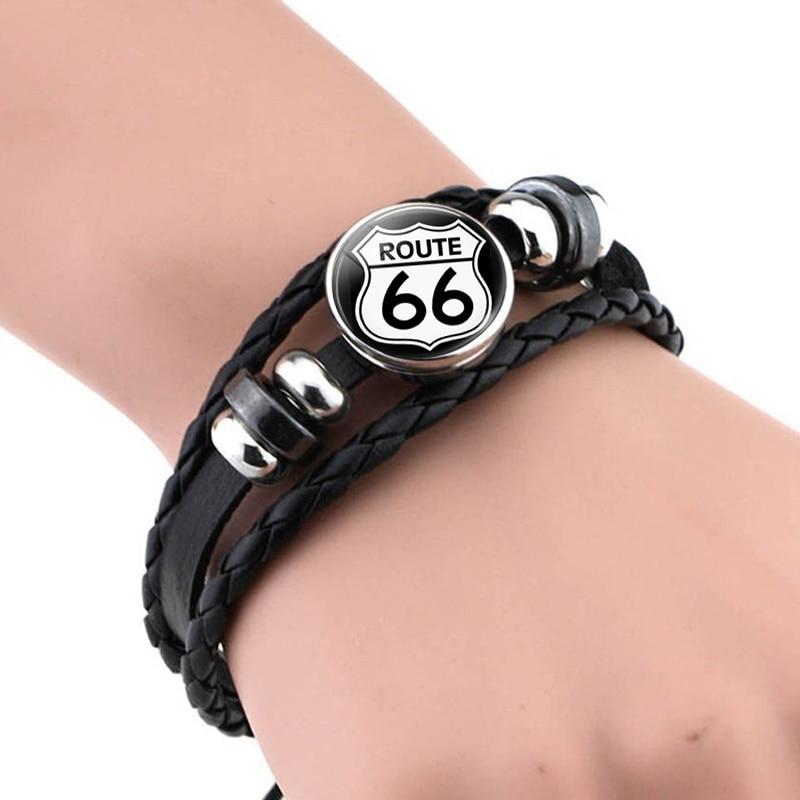 Fashion Route 66 Sign Bracelets Men Women Punk Woven Bracelet Charm Jewelry Travel Birthday Gifts