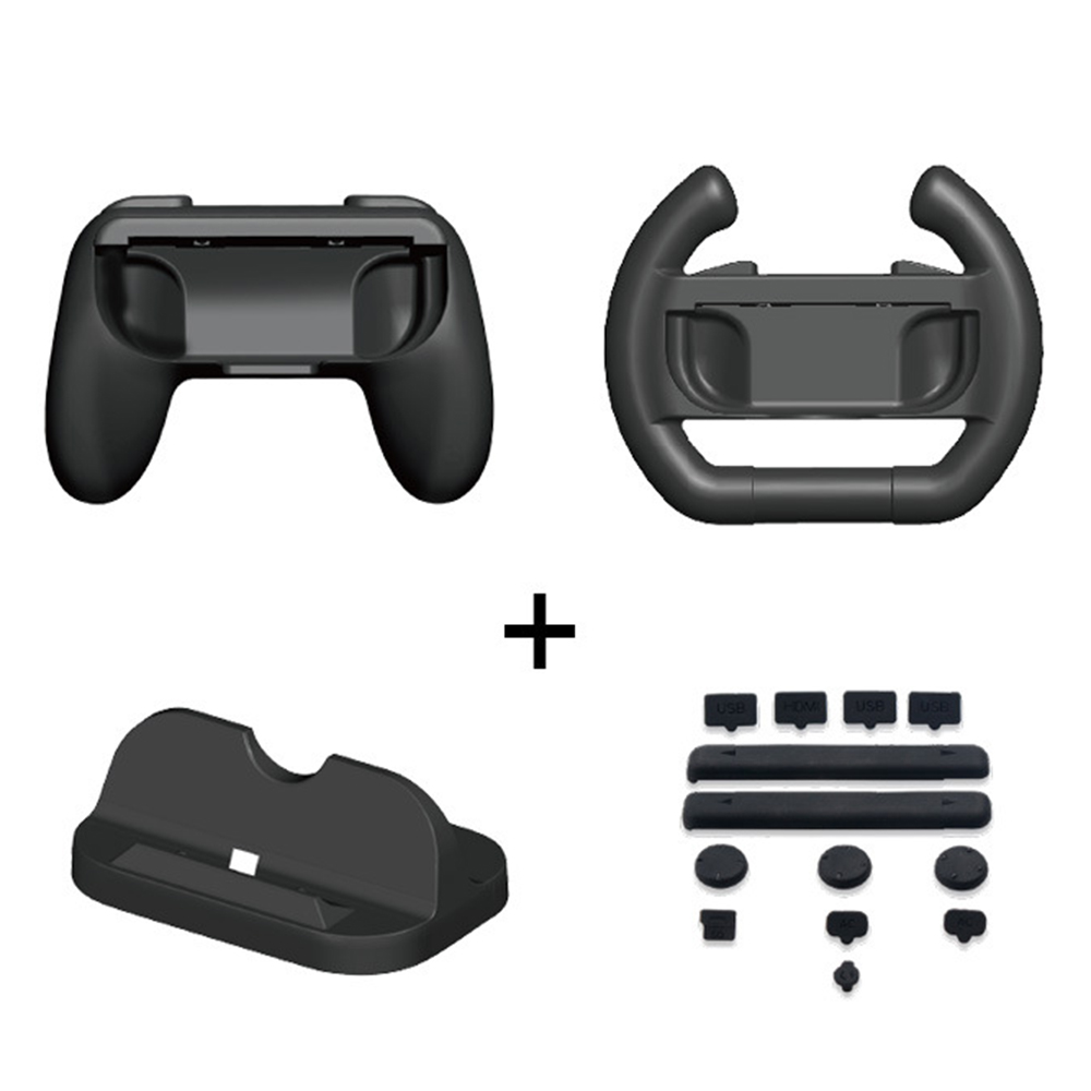 4 In 1 Black Super Game KitsCharge Stand Controller Grip For Switch