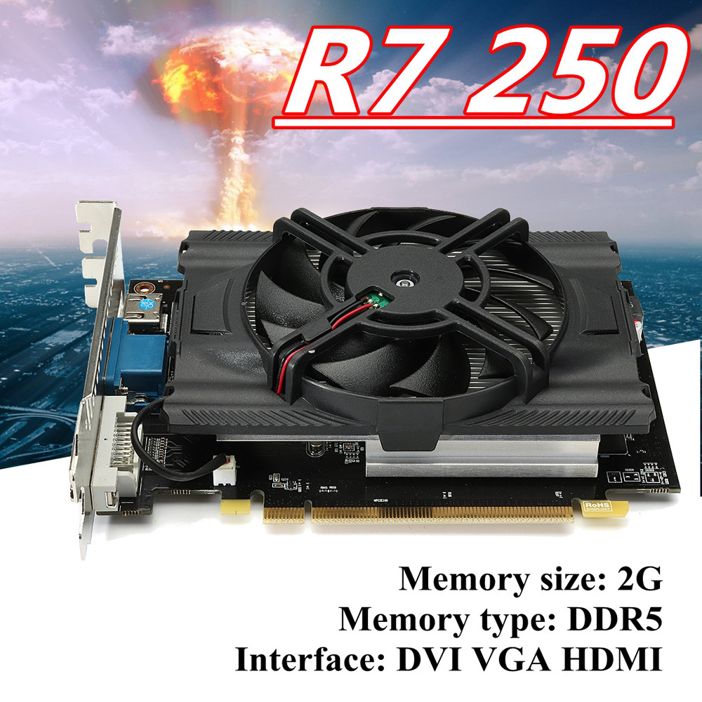 R7 250 2 gb GDDR5 128bit VGA DVI HDMI Carte Graphique w/Fan de Jeu PC Carte Graphique Carte D'extension d.24