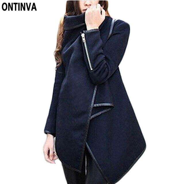 Asymmetrical Womens Coat Winter Fall Peacoat Women Long Oversized Trench  Novelty Turn Down Collar Outwear Black Coats 2016 New 24b3881d7b