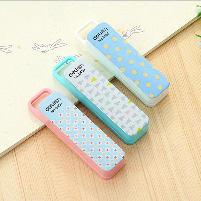 Cute Kawaii Mini Dot Triangle Plastic Stapler Set With Silver Staples Kids Gift Office School Supplies Stationery Student