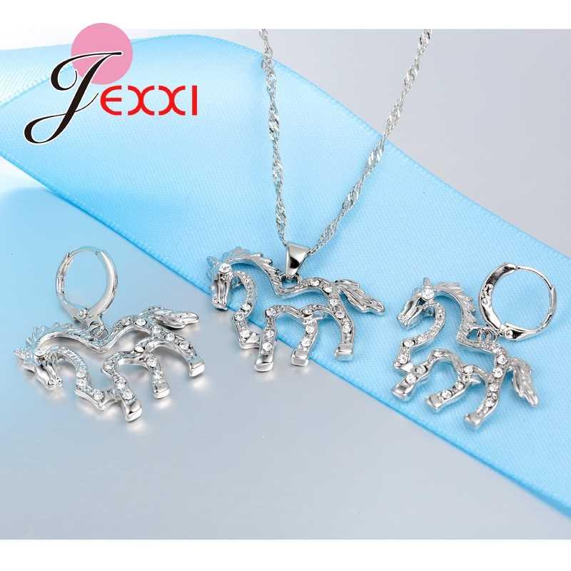 Beste Geschenke für Damen Schöne Design 925 Sterling Silber Hohl Zirkonia Tier Pferd Anhänger Halskette Ohrring Sets
